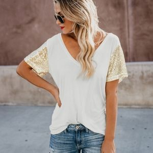 New Sparkling Gold Sequin V Casual T-shirt